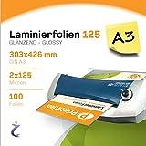 Printation Laminierfolien, 100 Stück A3, 426 x 303 mm, 2 x 125 mic, laminiert Illustrationen mit hoher Qualität - Laminiertaschen