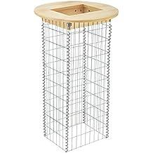 [pro.tec]® Mesa - gavión - madera auténtica - mesa alta con cesta de piedras - mesa de bar - mesa de jardín
