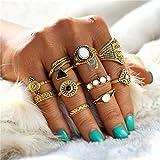Elistelle 10 pcs Ring Set Gold Boho Midi Ringe über Knöchel Finger Tip Ring Schmuck Set Damen