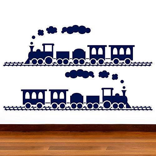 Garçons Train 2 Sticker Pack – Coupe & Place 2 trains individuels – Art Stickers Sticker mural en vinyle pour enfants, chambre, salon, salle de bain, facile à appliquer, sans applicateur, facile – enlever (Veuillez Choisir votre taille et couleur grâce à la sélection Boîtes) – par Rubybloom Designs, noir foncé, Medium 90cm x 25cm Each