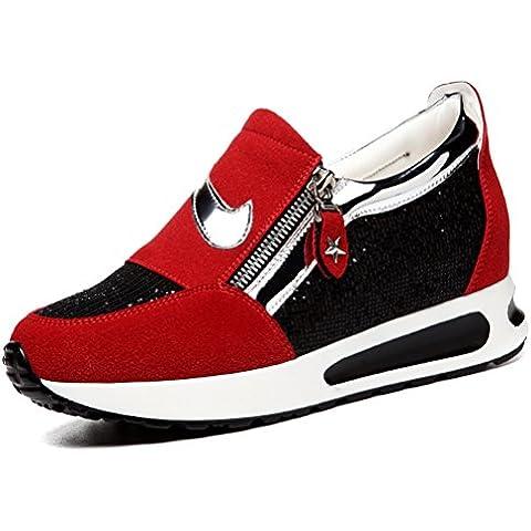Calzado deportivo zapatillas cómodas de las mujeres los zapatos corrientes de la aptitud grosor de la suela sacudir los zapatos zapatos al aire libre con el amortiguador con la cremallera