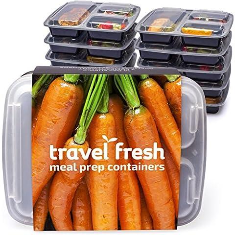 10unidades) Fresh Premium–Fiambreras comida Prep con 3compartimentos de viaje con suscripción gratuita de recetas | Microondas, apilable, lavavajillas. Sin BPA cajas de almuerzo bento con tapas y separadores de placa