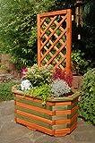 Pflanzkasten, Blumenkasten, Blumenkübel aus massivem Holz mit schön gearbeiteter Pergola, für den Garten, Farbe:Braun - Grün