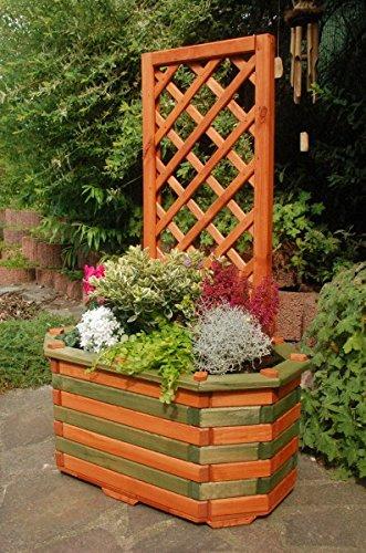 Deko-Shop-Hannusch Pflanzkasten, Blumenkasten, Blumenkübel aus massivem Holz mit schön gearbeiteter Pergola, für den Garten, Farbe:Braun - Grün