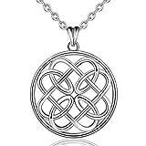 AEONSLOVE 925 Sterling Silber Keltischer Knoten Halskette für Frauen, Irische Unendlichkeit Endlose Liebe Knoten Anhänger Halskette, Schmuck Geschenke für Frau Freundin