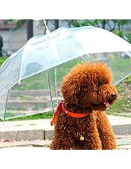 LianLe® -Paraguas perro mascota impermeable transparente Mantiene su mascota cómodo en seco en la lluvia,paraguas para mascota,práctico,Diámetro de la distracción: 69cm
