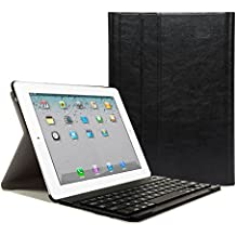 iPad 2 3 4 Funda con Teclado Bluetooth ,CoastaCloud iPad 2/3/4 Funda Cubierta Protectora con Teclado Inalambrico QWERTY Español para Apple iPad 2 (A1395 A1396 A1397) ; iPad 3 (A1416 A1430 A1403); iPad 4 (A1458 A1459 A1460)Negro