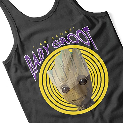 Guardians Of The Galaxy Baby Groot I Am Retro Groot Men's Vest Black