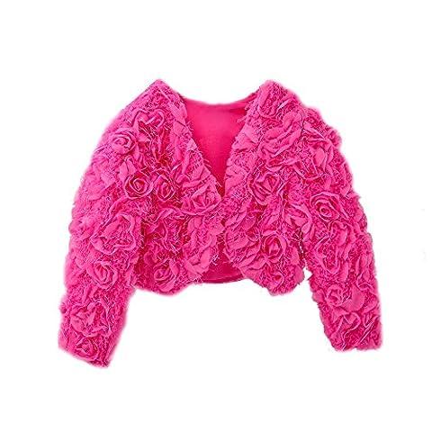 Icegrey Mädchen Gemütlich 3D Blumen Kleid Mantel Blumenmädchen Bolero Shrug Zubehör Prinzessin Cape Rosen-Rot