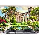 Papel tapiz 3D paisaje Columna romana jardín paisaje pared de fondo 3d Vinilo Vinilo Papel tapiz