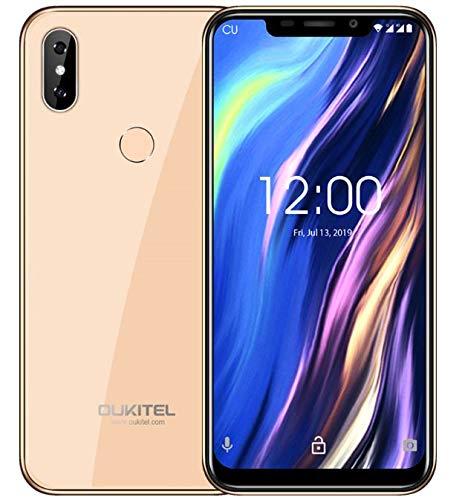 OUKITEL C13 Pro Android 9.0 4G LTE Smartphone ohne Vertrag (Dual SIM) - 6,18 Zoll Kerbenbildschirm Dual Glas Körper Handy, Quad-Core 1,5GHz 2GB+16GB dreifache Kamera, Gesicht ID&Fingerabdruck Gold