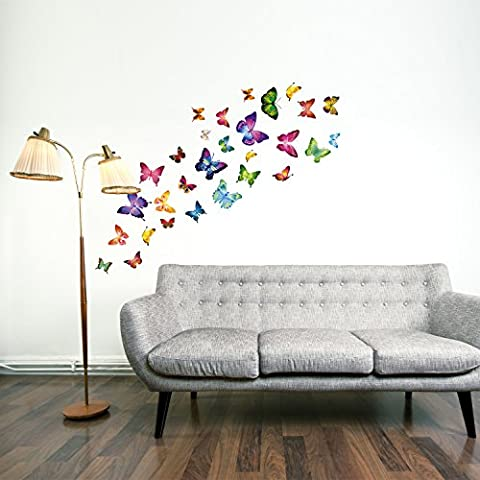 Walplus Colourful Butterflies Wall Stickers - Office Home Decoration, 28pcs 33cm x 60cm, PVC, Removable, Self-Adhesive,