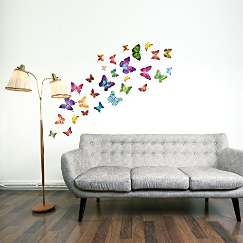 adesivi murali farfalla 21 singole farfalle vivacemente colorato per la camera dei bambini o stanza dei