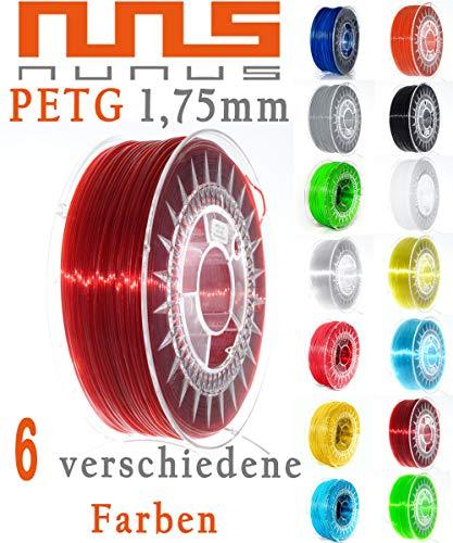 NuNus PETG Filament MULTICOLOR SET mit 5 Farben jeweils 20m insgesamt 100m - 1,75mm Polyethylenterephthalat (PET-G) 5 Farben für 3D Drucker, 3D Pen, (1.75mm, Multicolor Set) -