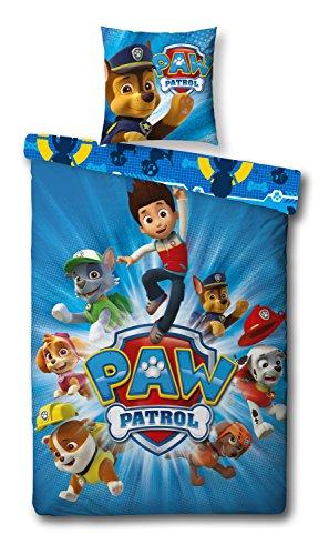 Familando Wende Bettwäsche Set Paw Patrol, 135x200 cm 80x80 cm, 100% Baumwolle, Linon 5402