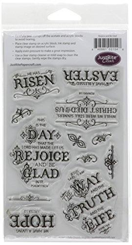JustRite Papercraft Just Rite claro sello de goma en 10,1x 15,2cm, Rejoice and be Glad