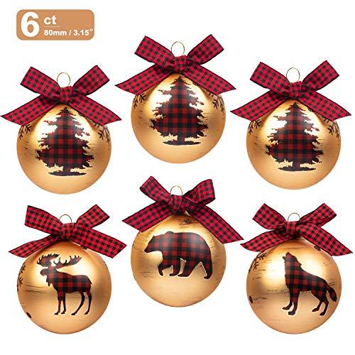 Art Beauty Palline di Natale di vetro 6 ° Decorazioni per l'albero di Natale 8 centimetri Ornamenti di palline di grandi dimensioni con fiocchi di plaid rosso per Xmas Winter Woodland Theme Deco