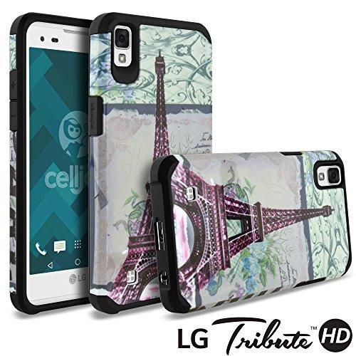 LG Tribute HD Fall, LG X Style Case, celljoy [Liquid Armor] Slim Fit [Dual Layer Series] LG vs995H990TPU Schutz Hybrid [[stoßfest]]-Dünnes Hard Cover, Design - Eiffel Tower Paris
