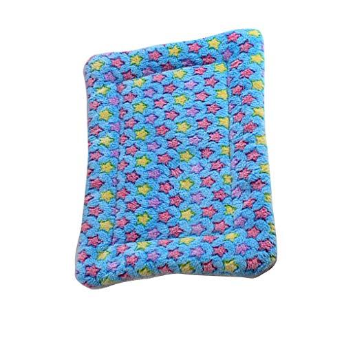 Floridivy Plüsch-Stern-Decke Haustiere Bett Pad Coral Velvet Welpen Isomatte Sommer Doghouse Warm Kissen Blau -