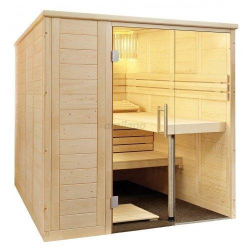 Alaska Sauna Large Saunakabine Fichtenkabine mit Linden-Einrichtung 208x206x204cm ohne Technik
