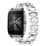 IGEMY Luxuriöse Edelstahl Zubehör Gans Ei Stil Metall Uhrenarmband für ZenWatch 2 (Silber)