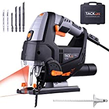 Jigsaw, TACKLIFE 800W 0-3000RPM electric Jig saws tool with Laser & LED, 6 Variable Speeds, 6 Blades, Carrying Case, 4-Position Orbital, 22mm Stroke Height, Bevel Cutting: +/-45 °, 3M Wire - PJS02A