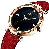 CIVO Mujer Rojo Delgado Relojes con Banda de Cuero Genuino Moda Lujo Diseño Simple Reloj de Pulsera para Dama Casual Vestir Reloj Analógico de Cuarzo con Rose Dial Negro Tono Dorado