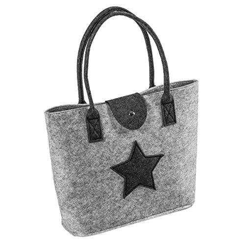 LaFiore24 Filztasche Einkaufstasche Stern Damen Handtasche Filz Shopper Festival Bag Henkeltasche Aufbewahrung (Hellgrau)