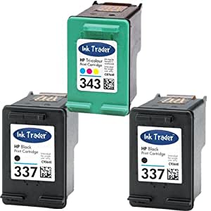 2x HP 337 Black & 1x 343 Tri-Colour Remanufactured Printer Ink Cartridges For use with HP Photosmart 2570 2575 8050 C4180 C4190 D5160 Printers by Ink Trader