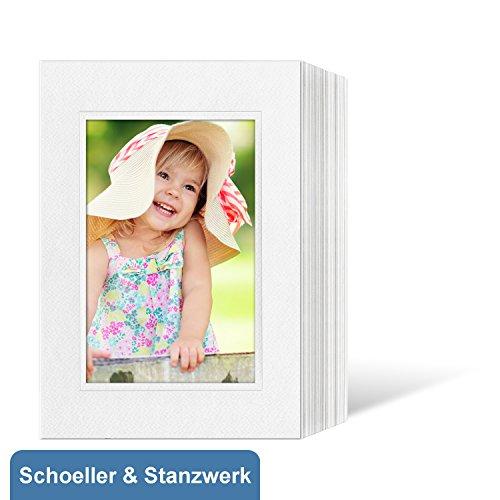 50 Stück Endlosleporellos für 15x20 cm Fotos Hochformat - weiß - weiße filzgeprägte Maske mit Blindprägung - Schoeller & Stanzwerk