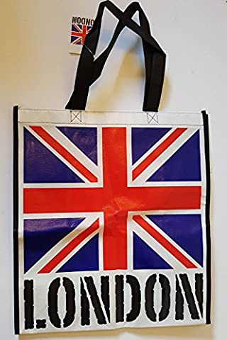 Union Jack Bag with London Word on White Background –
