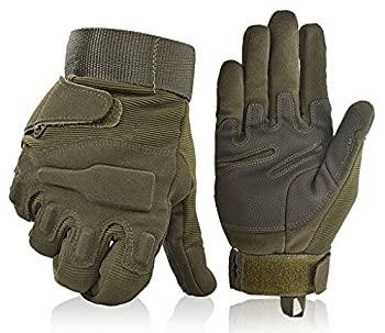 Fuyuanda Shooting Gloves Gloves Full Finger Gloves Hard Knuckle Outdoor Glove For Airsoft Paintball Pistol Hunting Riding Cycling C13 (Olive, Large) 0
