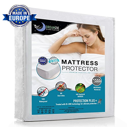 Waterproof Mattress Protector Grand King Size (180x200cm) - Breathable, Hypoallergenic, Anti-Mite, Anti-Bacterial Fitted Topper - Bed Cover with New Treatment: Optimal Protection - 10 Year Warranty