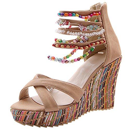 Oasap Women's Bohemian Ankle Strap Beaded Wedge Heels Sandals apricot
