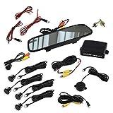 Einparkhilfe mit Rückfahrkamera und Monitor im Spiegel – ideal zum Nachrüsten eines PDC Systems – mit Kamera und vier Parksensoren – für hinten in schwarz
