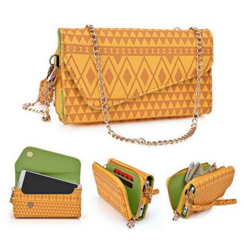 Kroo Pochette/étui style tribal urbain pour Sony Xperia C3/C4 Double Multicolore - White and Orange Multicolore - jaune