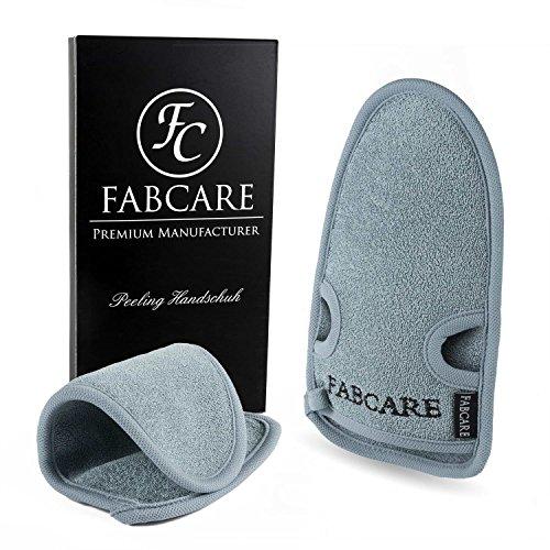 FABCARE Peelinghandschuh rau für Körper & Gesicht aus Bambus + BONUS Saugnapf - Reinigt Porentief - Peeling Handschuh für Hamam & Dusche - Massagehandschuh Grob für Körperpeeling (1 Stück)