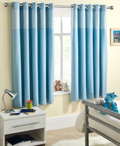 Powder Blue Gingham Baby Bedroom Curtains Blackout Thermal 66″ x 72″ Thermal Backed Eyelet Top Heading Readymade Blockout Curtain