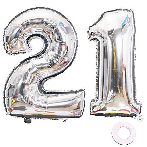 2. 21. Geburtstag XXL Riesen Folienballon Luftballon Zahl 21 12 Silber Nummer Ballons Große Folienmylar-Ballons 40-Zoll-Riesen-Jumbo-Zahl-Ballons zum 21. Geburtstag Partydekorationen ()