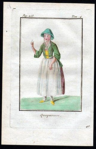 Quaqueresse - Quäkerin Religion Großbritannien Great Britain costume Kupferstich Tracht antique (Von Großbritannien Tracht)