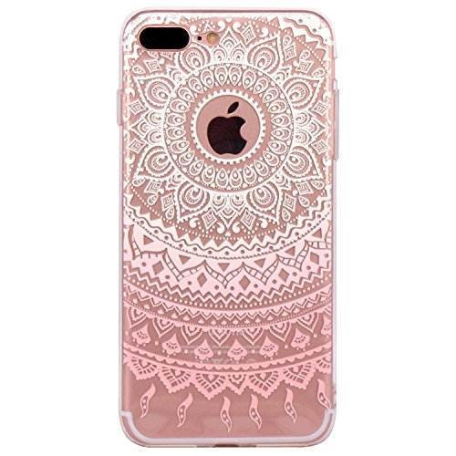 iPhone 5 Case, Walmark Beautiful Clear TPU Soft Case Rubber Silicone Skin Cover for iPhone 5 inch - White Pink Tribal Mandala