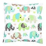 TupTam Kissenhülle Dekorativ Gemustert Dekokissen Baumwolle, Farbe: Elefant Mint, Größe: 40 x 40 cm