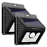 QWOO Solarleuchte LED Solarlampe, QWOO 30 LEDs außenwandleuchten Bewegungsmelder solarlicht für außen, 120 °Weitwinkel P65 Wasserdicht, 3 Modi Hitzebeständig für Garten, Garage, Balkon(2 Stücke)