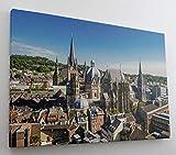 Aachen Skyline Dom Leinwand Canvas Bild Wandbild Kunstdruck L1448 Größe 100 cm x 70 cm