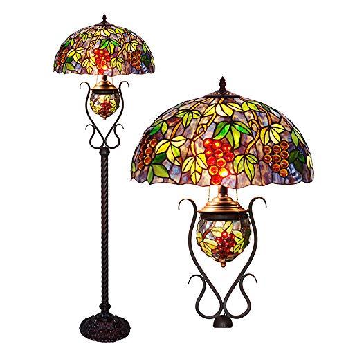 Tiffany-Stil Mutter und Kind Stehlampe oval handgefertigte Traube Kunst Vintage Dekoration Boden stehend Licht 46 * 165CM
