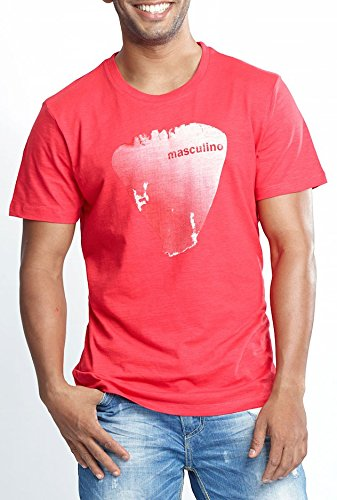Masculino Latino Casual Red T-shirts Round Neck for Men MLT1001B-L
