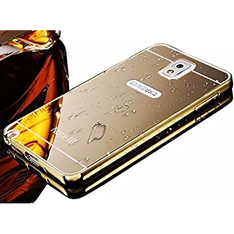 Vandot 1X Funda Case Cover Para Samsung Galaxy Note 3 N9000 Funda Ultra Slim Carcasa Resistente a Arañazos+ Aluminio Bumper Frame Case Parachoques Cover Dorado Dura y