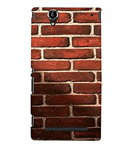 PrintVisa Red Brick Pattern 3D Hard Polycarbonate Designer Back Case Cover for Sony Xperia T2 Ultra