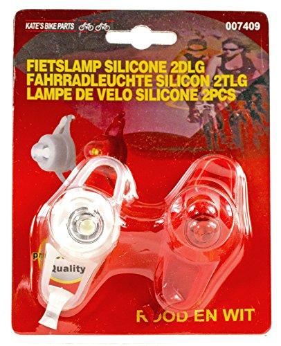 Holländische Fahrrad-Lampen Silikonleucht-Set LED Fahrrad-Beleuchtung Set Mountain-Bike inkl. Halterung Vorder- und Rück-Licht Hell