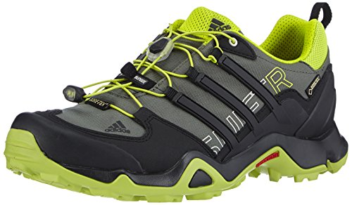 adidas Performance - Terrex Swift R Gtx, Scarpe da trekking da uomo, Nero (Base Green S15/Core Black/Semi Solar Yellow), 45 1/3